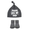 "Baby Essentials ""Tough Like Dad"" Hat and Socks Set 0-6mo"