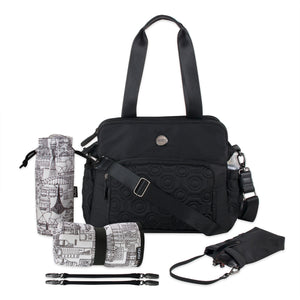 OiOi Quilted Satchel Tote Diaper Bag in Black