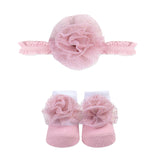 Baby Essentials Pink Floret Headband and Socks Set 0-6mo