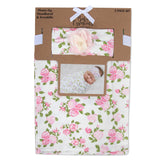 Baby Essentials Pale Floral Swaddle Blanket with Matching Headband