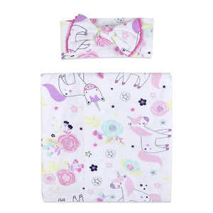 Baby Essentials Magical Unicorn Swaddle Blanket with Headband Set