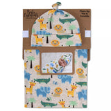 Baby Essentials Safari Swaddle Blanket with Matching Hat
