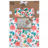 Baby Essentials Coral Floral Swaddle Blanket and Headband