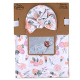 Baby Essentials Floral Swaddle Blanket and Turban Hat Set