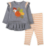 Baby Essentials Thanksgiving Sequin Turkey 2-Piece Set