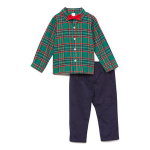 Baby Essentials Holiday Christmas Plaid Button Up 2- Piece Set