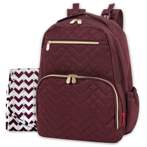 Fisher Price Morgan Quilted Diaper Bag Backpack in Burgundy