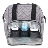 Fisher Price Emerson Quilted Wide Frame Backpack Diaper Bag-  Heather Grey