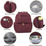 Baby Essentials Quilted Backpack Diaper Bag with Changing Pad 2-Piece Set in Burgundy