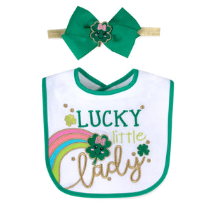 Baby Essentials St. Patricks Day Lucky Lady Headband and Bib Set 0-6mo