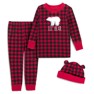 Baby Essentials Christmas Buffalo Check Lil Bear 3-Piece Set