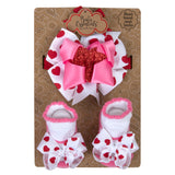 Baby Essentials Holiday Valentine's Headband and Socks Set 0-6m