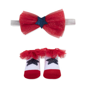 Baby Essentials Americana Bow Headband and Socks Set 0-6mo