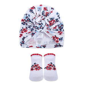 Baby Essentials Floral Turban Cap and Socks Set 0-6mo
