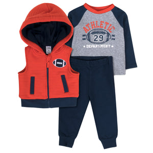 Baby Essentials Athletic Football 3-Piece Vest Set