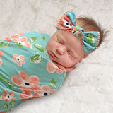 Baby Essentials Coral Flower Swaddle Blanket with Matching Headband
