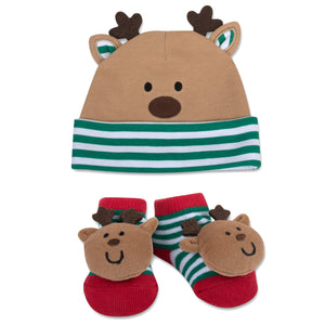 Baby Essentials Christmas Reindeer Cap and Rattle Socks Set 0-6m