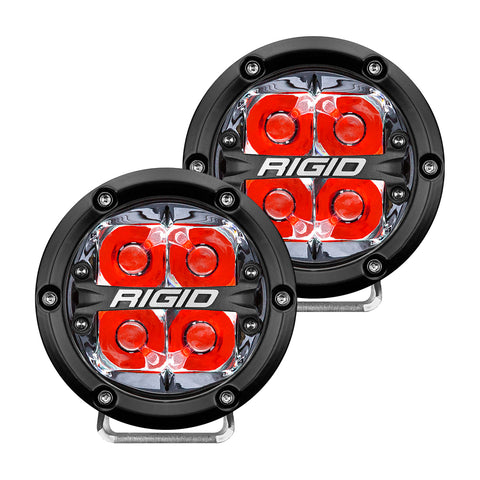 360-SERIES 4 INCH LED OFF-ROAD SPOT BEAM RED BACKLIGHT|PAIR