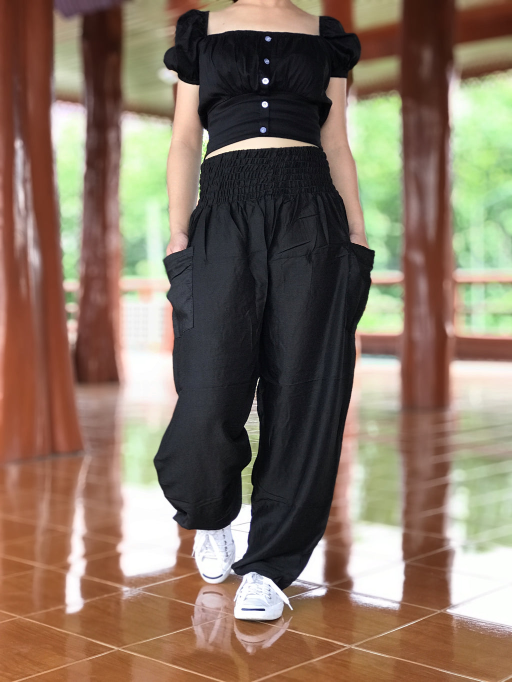 Black harem pants, Thai hippie harem pants