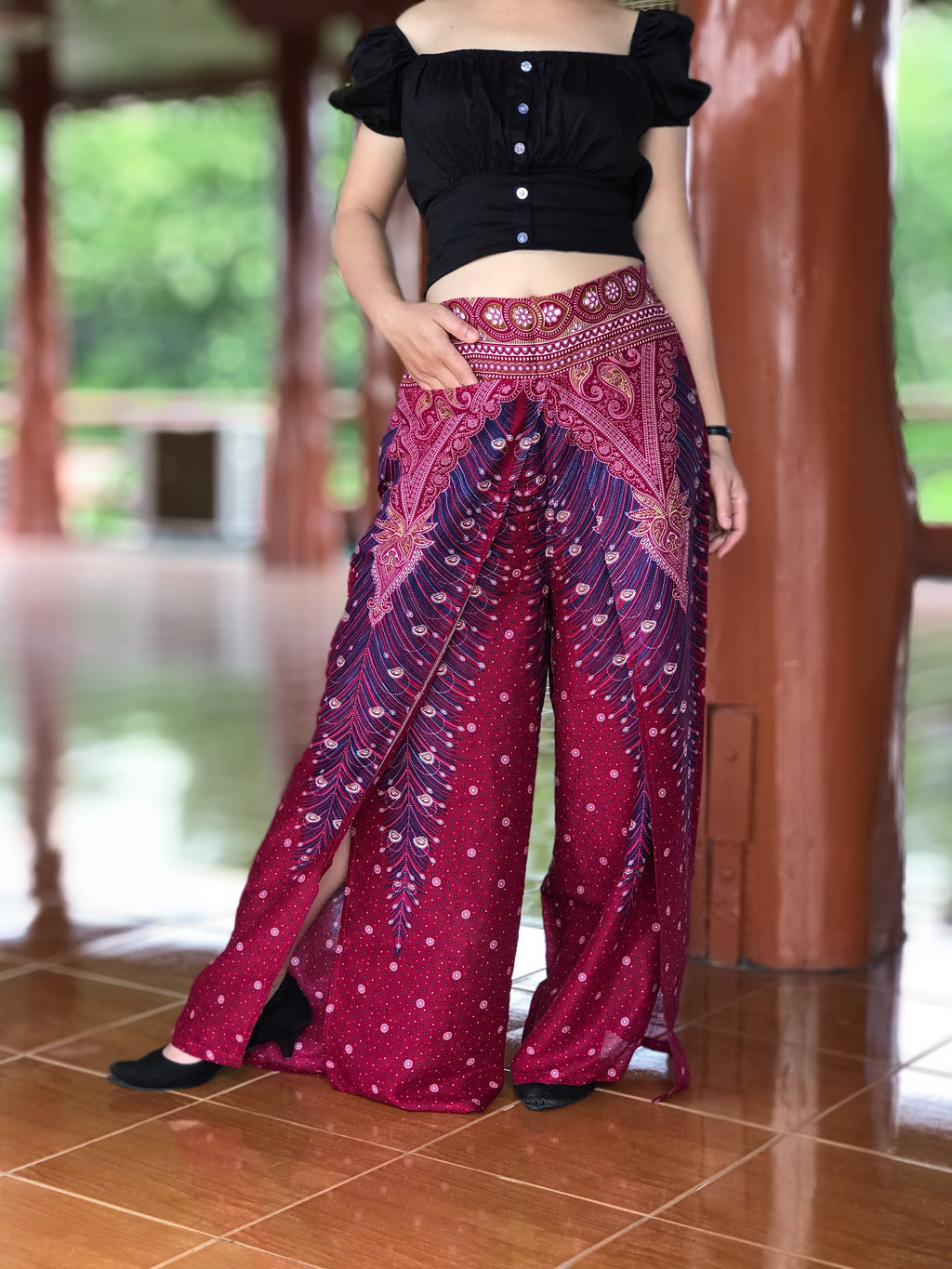 Red burgundy slit open leg palazzo pants, sexy harem pants