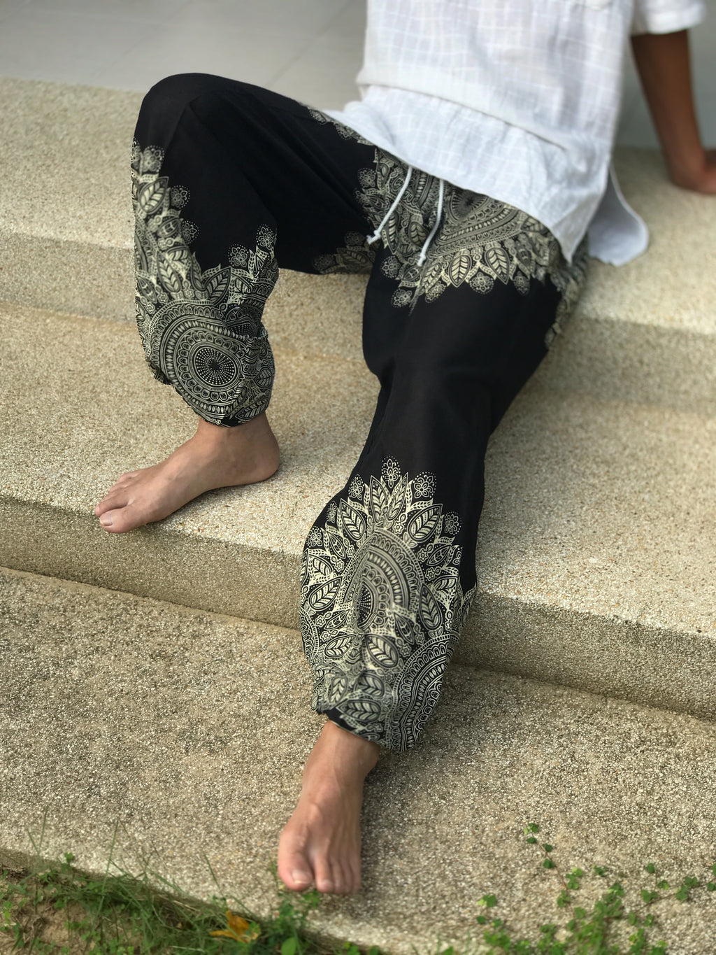Black mandala harem pants for men's and women's