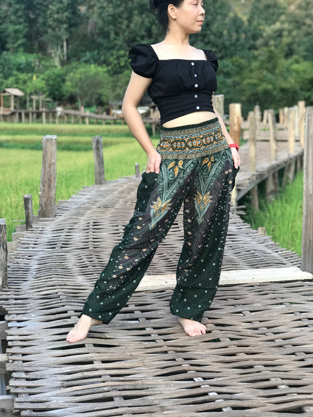 Green boho chic meditation harem pants