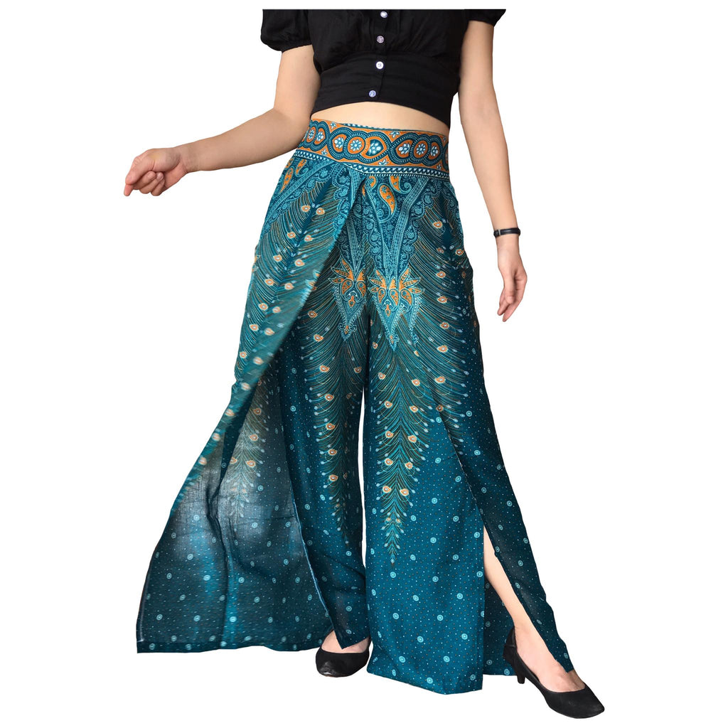 Green peacock slit open leg palazzo pants, Thai harem pants