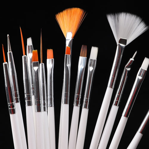 15pcs Long Tail Brush Pen Plastic Handle Pull Hook Line Pen Nail Artists Set Short Miniature Detail Soft Acrylic Oil Art Escolar