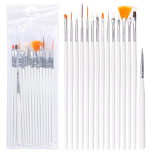 Load image into Gallery viewer, 15pcs Long Tail Brush Pen Plastic Handle Pull Hook Line Pen Nail Artists Set Short Miniature Detail Soft Acrylic Oil Art Escolar