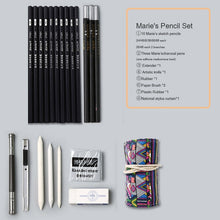 Load image into Gallery viewer, Marie's sketch pencil set sketch pen drawing pencil set beginner student professional full set of sketch pen art supplies