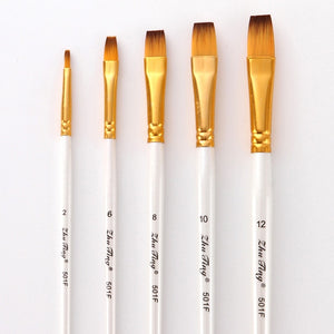 5Pcs Art Paint Brush Set Nylon Hair White Handle Artist Brushes for Acrylic and Oil Painting Watercolor Brush