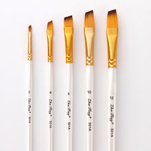 Load image into Gallery viewer, 5Pcs Art Paint Brush Set Nylon Hair White Handle Artist Brushes for Acrylic and Oil Painting Watercolor Brush