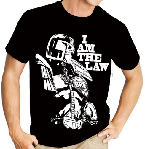 Summer Style Fashion Judge Dredd  The Law (2000Ad) Comic Book Graphic Novel Men'S Black T Shirthip-Hop  Casual Clothing
