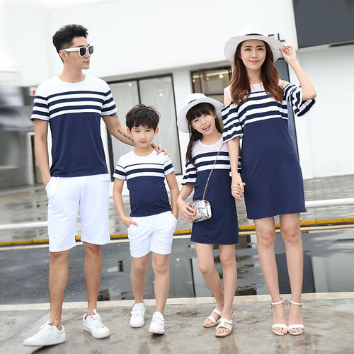 Striped family matching clothes shoulder relationship mom and daughter dress father son t-shirt family parent-child clothes