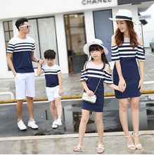 Load image into Gallery viewer, Striped family matching clothes shoulder relationship mom and daughter dress father son t-shirt family parent-child clothes