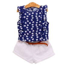 Load image into Gallery viewer, Humor Bear Girls Clothes Brand Girls Clothing Sets Kids Clothes Children Clothing Blouse +Shorts + Belt 3PC Clothing Set