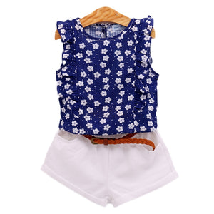 Humor Bear Girls Clothes Brand Girls Clothing Sets Kids Clothes Children Clothing Blouse +Shorts + Belt 3PC Clothing Set