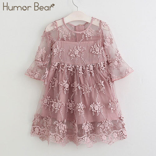 Humor Bear Girl Ball Gown Dress 2018 Toddler Girl Summer A-Line Lace Dress Princess Birthday Party Dress