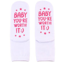 Load image into Gallery viewer, Humor Words Amusing Female Sock Funny Keep Calm And Push On Printed Unisex Casual Hip Hop Socks for Pregnant Women Non Slip