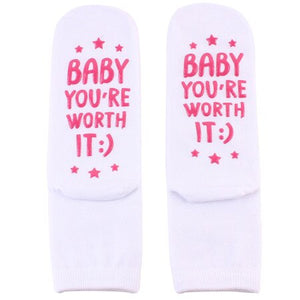 Humor Words Amusing Female Sock Funny Keep Calm And Push On Printed Unisex Casual Hip Hop Socks for Pregnant Women Non Slip