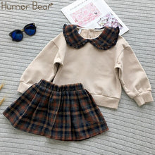 Load image into Gallery viewer, Humor Bear 2019 New Winter Autumn Girls Clothes Set England Plaid Short Doll Shirt+skirt Girls 2pcs Kids Girls Children Clothing