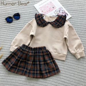 Humor Bear 2019 New Winter Autumn Girls Clothes Set England Plaid Short Doll Shirt+skirt Girls 2pcs Kids Girls Children Clothing