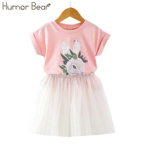 Humor Bear Summer Children's Sets Cartoon Rabbit Girls Sets Short sleeve + skirt 2PCS Suit Children's Clothes
