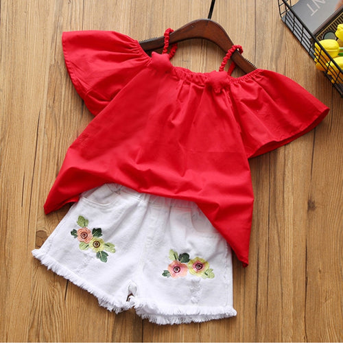 Humor Bear 2018 hot Children's T-shirt + Embroidered Shorts Kids' Wear Two-piece Fashion Kids Set Girls Clothing