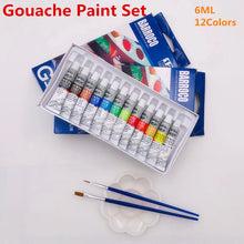 Load image into Gallery viewer, 6 ML 12 Gouache Painting Paint Set  Professional Student Drawing Pigment for Art Supplies Offer 2 Brush And 1 Palette For Free