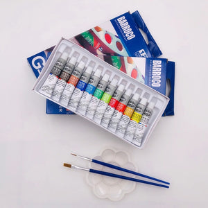 6 ML 12 Gouache Painting Paint Set  Professional Student Drawing Pigment for Art Supplies Offer 2 Brush And 1 Palette For Free