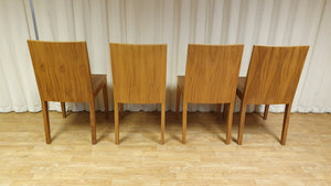 Set of 4 Hardwood Dining Chairs, Walnut