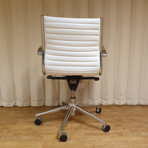 White Abbey Medium Back Leather Office Chair