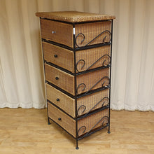 Load image into Gallery viewer, Metal Framed Wicker 5 drawers Tallboy / Storage unit