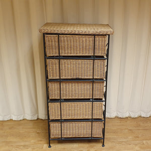 Metal Framed Wicker 5 drawers Tallboy / Storage unit